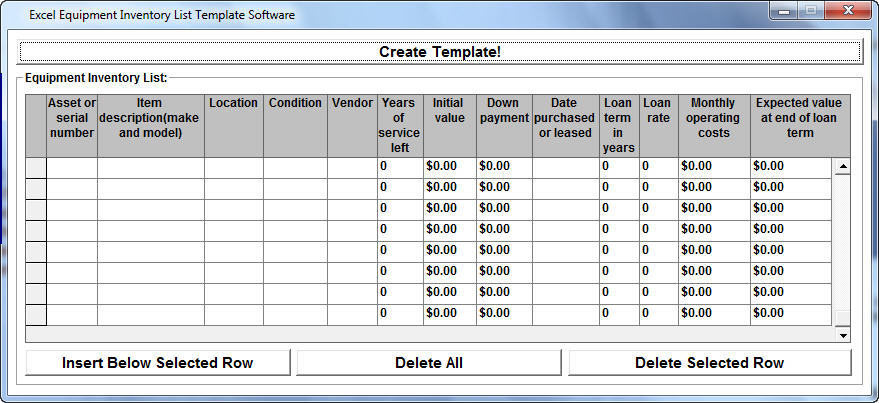 inventory list template excel