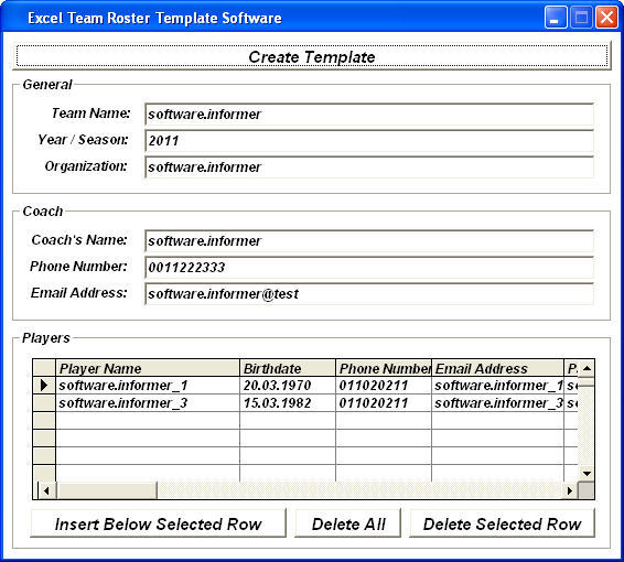 Excel Team Roster Template Software Download For Free - Softdeluxe