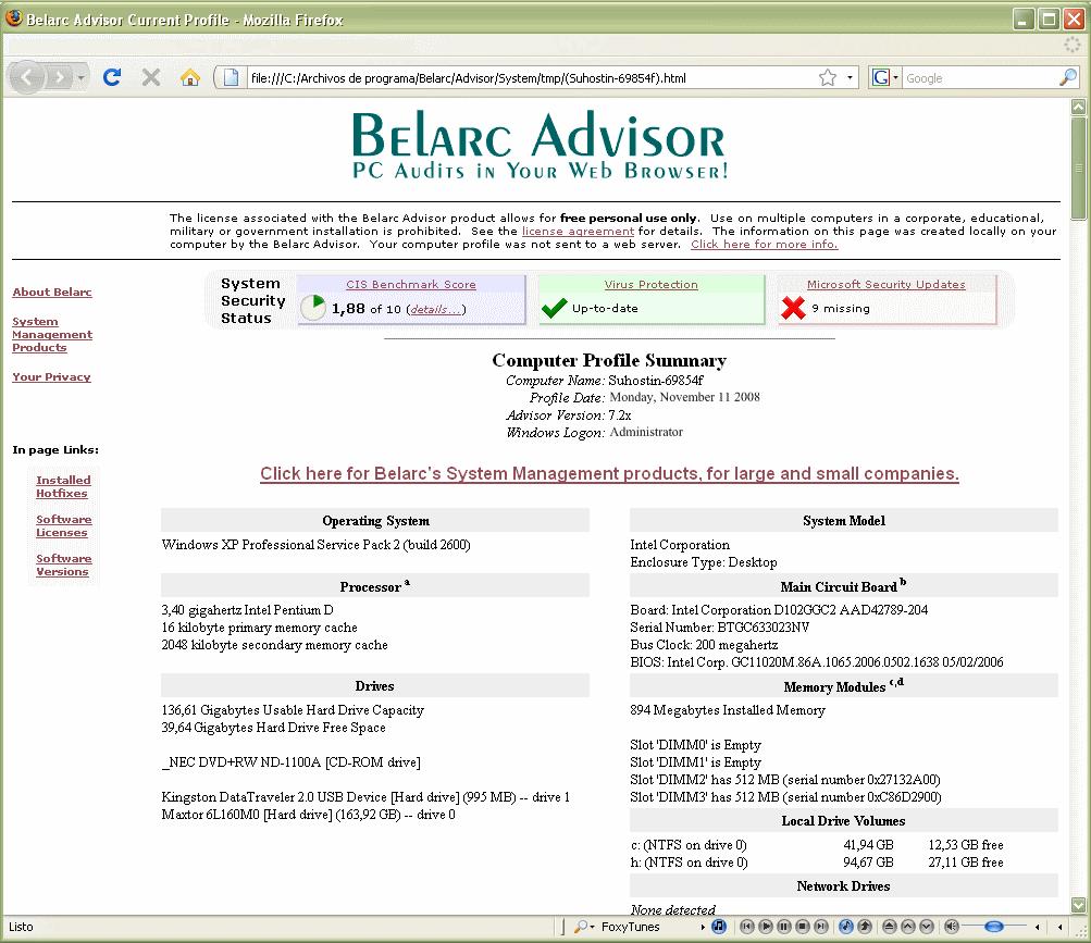 Belarc Advisor download for free - SoftDeluxe