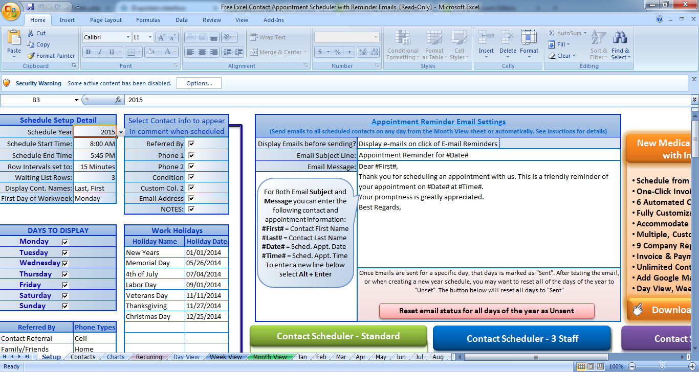 free excel contact appointment scheduler with reminder emails latest