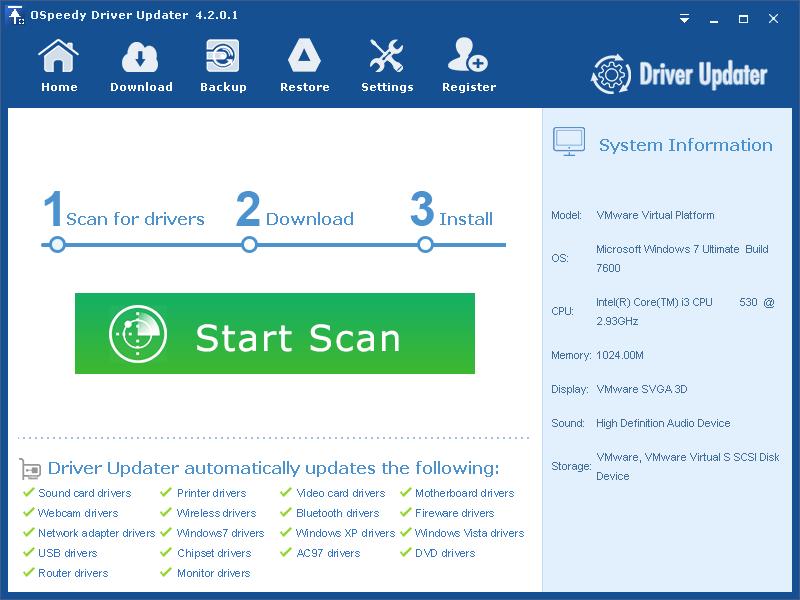 OSpeedy Driver Updater latest version - Get best Windows