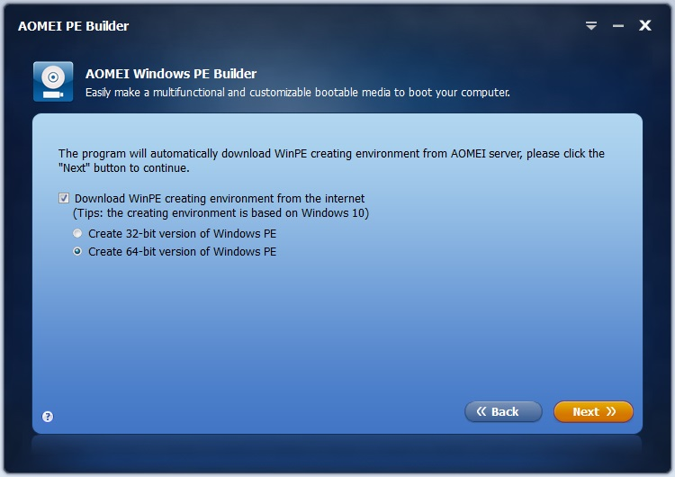 AOMEI PE Builder download for free - SoftDeluxe